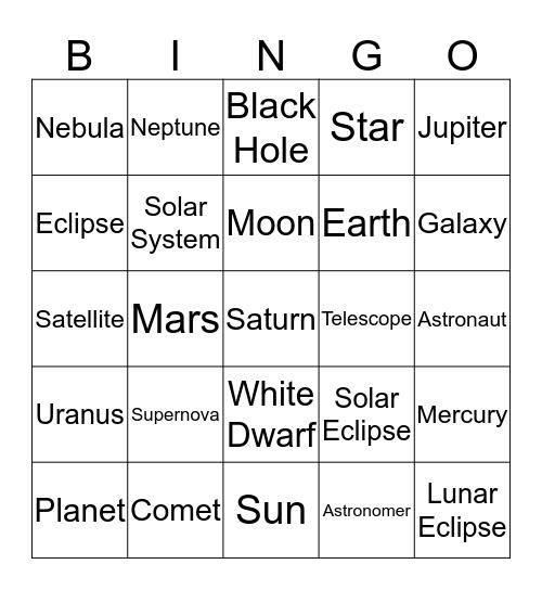 ASTRONOMY FUN TIMEZ Bingo Card