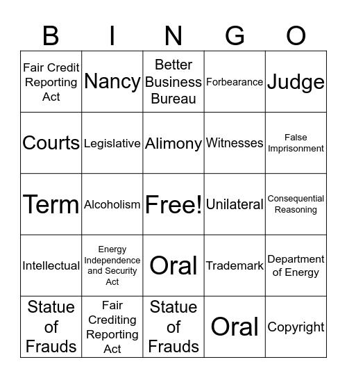 Business Law  Bingo Card