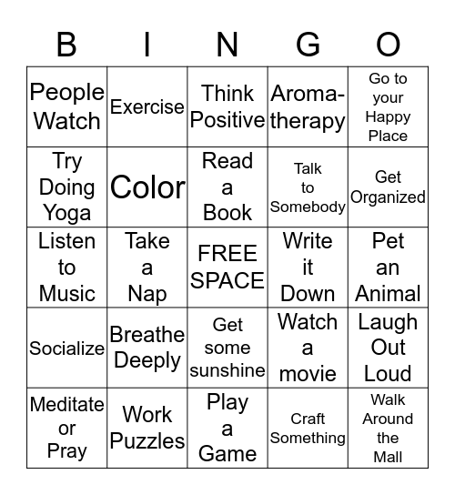 Stress Relief Bingo Card