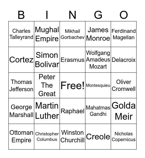 The People of World History II Bingo Card