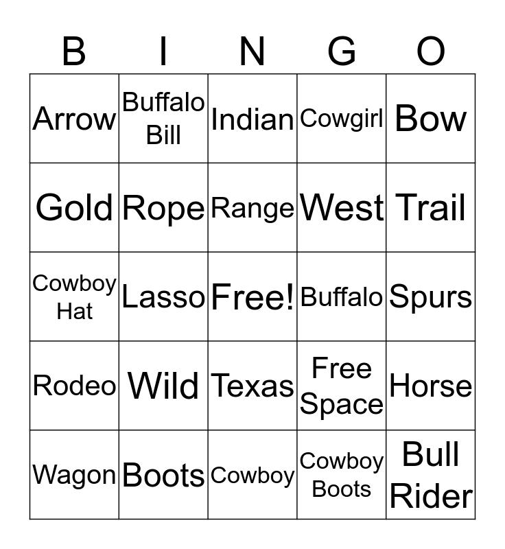 Cowboy Bingo Card