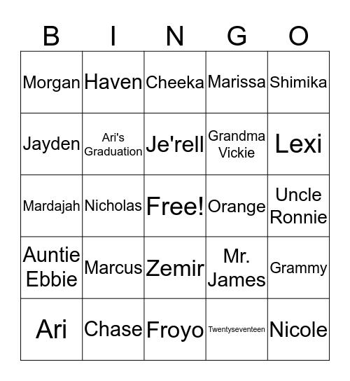 Ari's Graduation 2017 Bingo Card