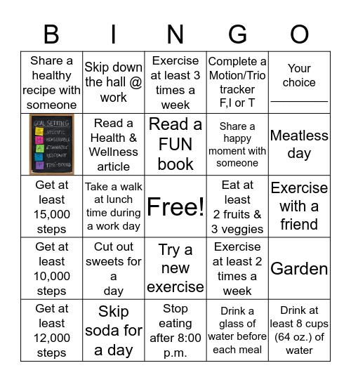 BCPAG Summertime Health/Wellness Bingo Card