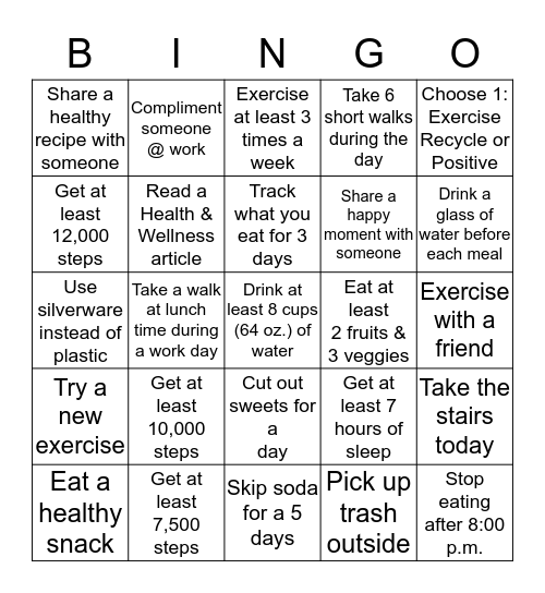 BCPAG Summer Health & Wellness Bingo Card