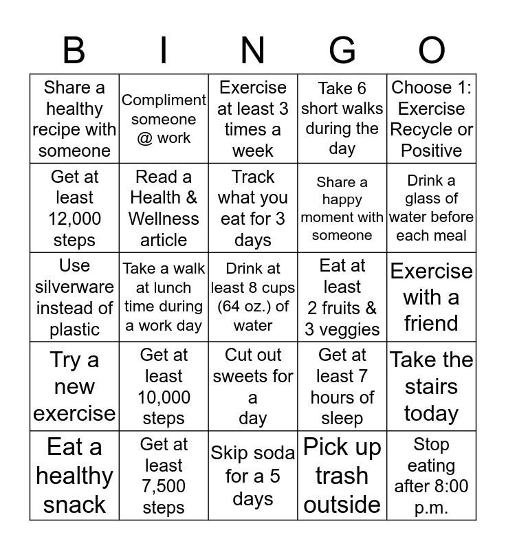 BCPAG Summer Health & Wellness Bingo Card