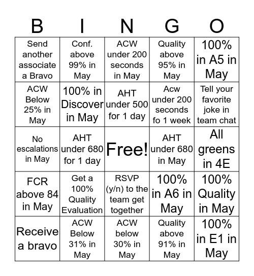 Team Klinginsmith Bingo Card