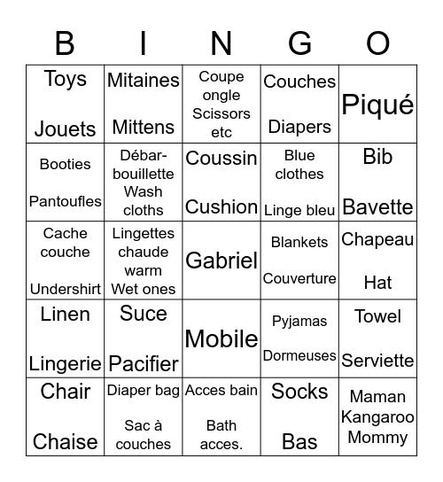 BABY BINGO BÉBÉ Bingo Card