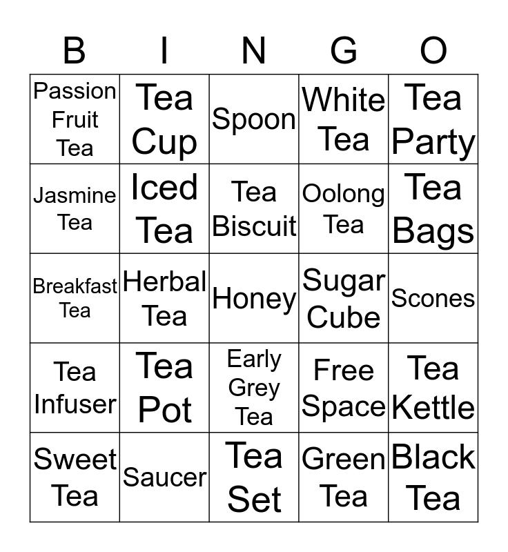 Tea Time Bingo Card