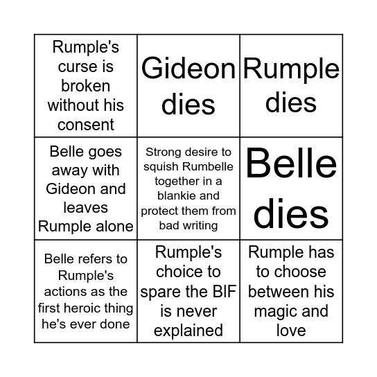 Rumbelle Finale Bingo Card
