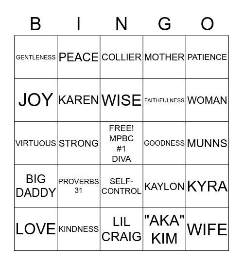 KAREN COLLIER DIVA OF THE HOUR Bingo Card