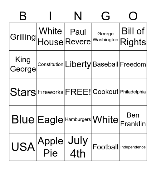 4th of July Jello Shot Bingo Card