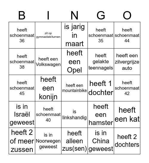 WIE O WIE.... Bingo Card