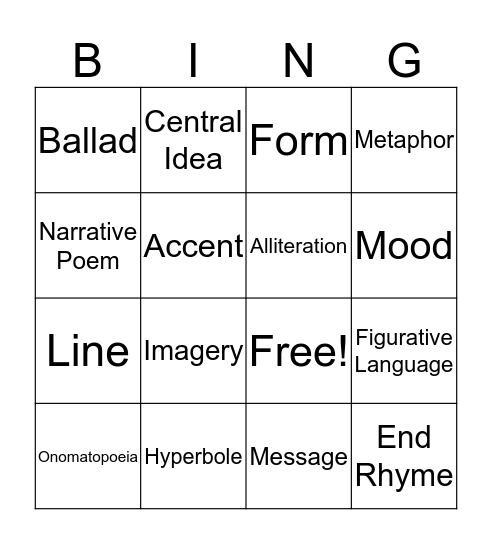 Poetry Vocabulary Bingo Card