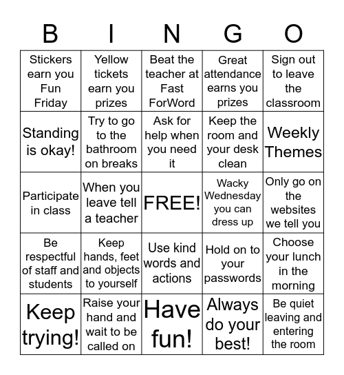 Classroom Rules and Routines Bingo Card