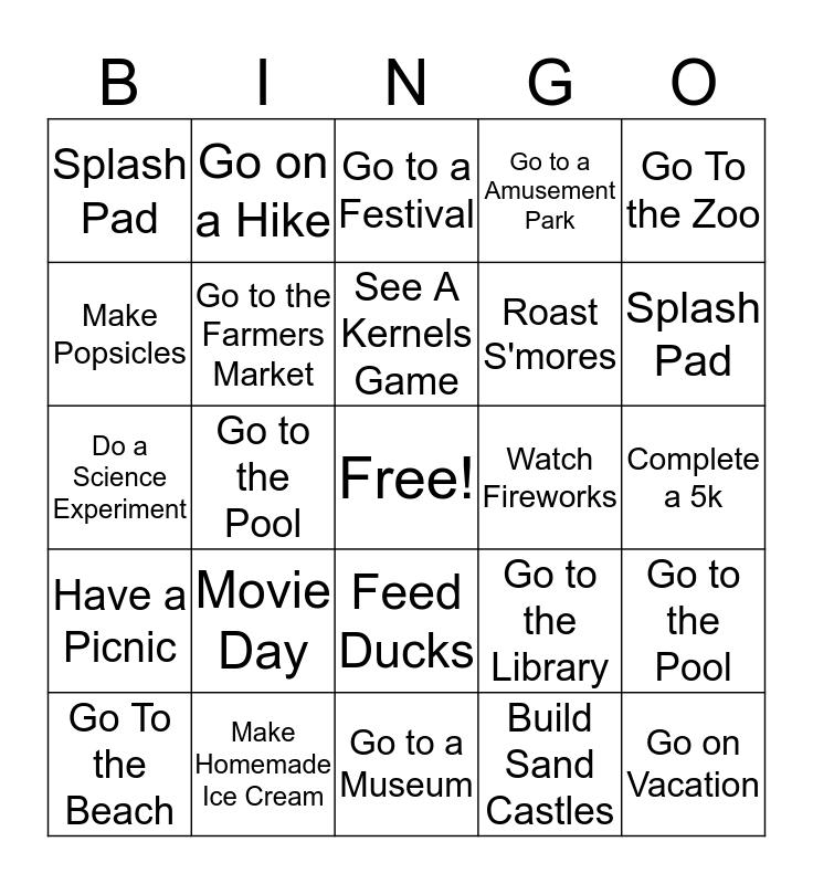 Summer Bucket List Bingo Card