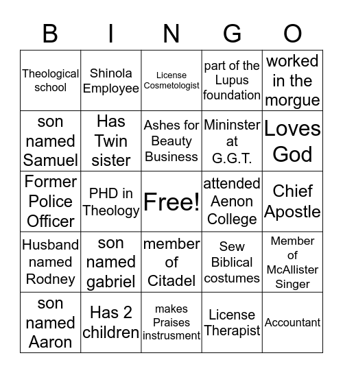 all about us Bingo Card