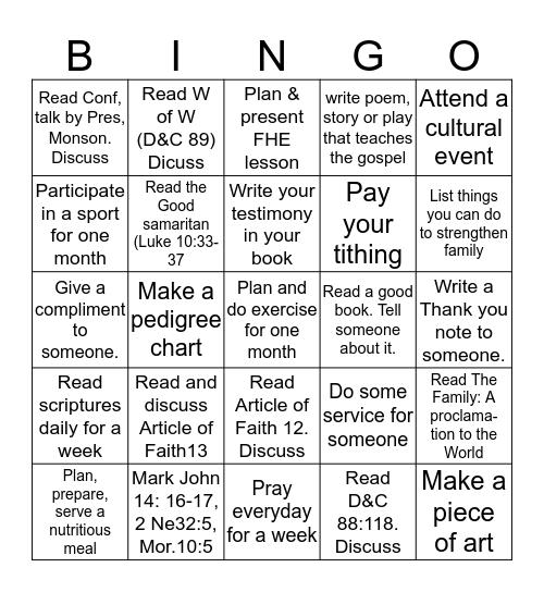 Faith in God Bingo Card