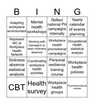 Workplace health coordinator BINGO Card
