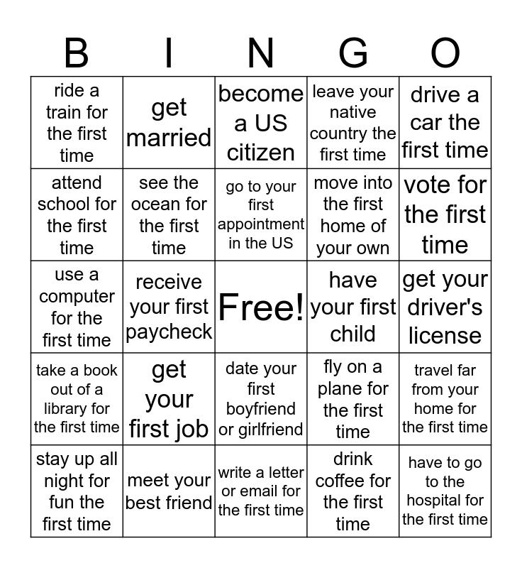 Where were you when you  ...? How old were you when you ...? Bingo Card