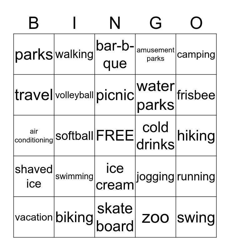 Summer Activities Bingo Card