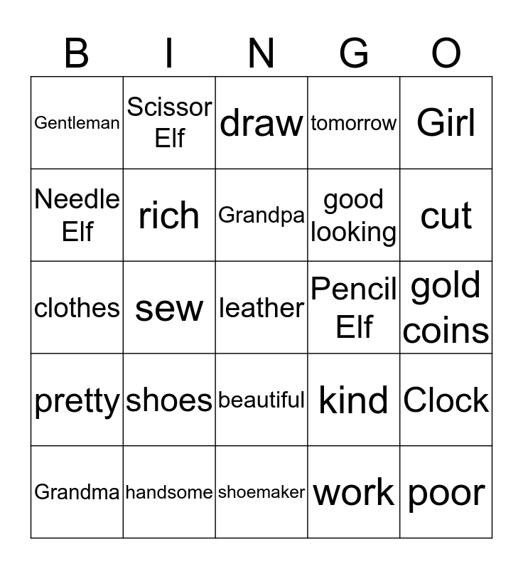The Shoemaker and the Elves Bingo Card