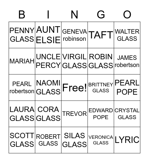 2017 Glass Family Gathering Bingo Card
