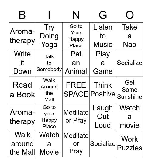 Relieve Your Stress Bingo Card