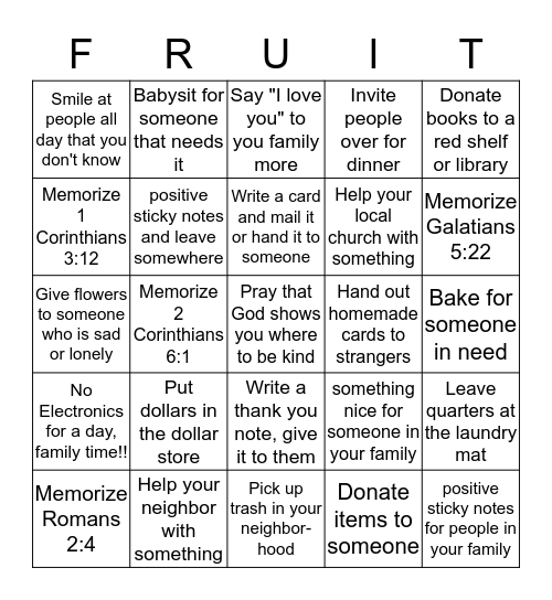 Kindness Bingo Card