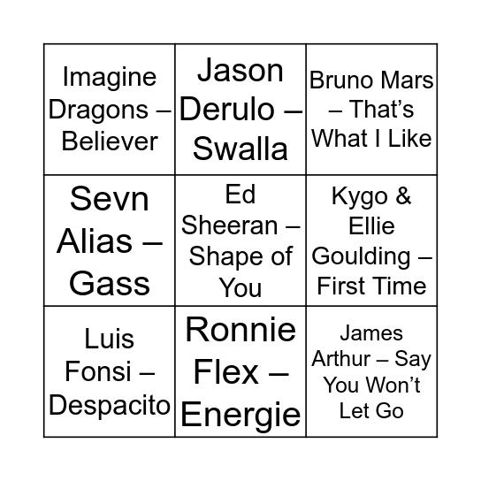 Duinrell Muziek Bingo Card