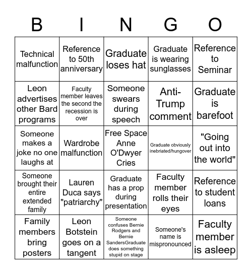Commencement Bingo 2017 Bingo Card