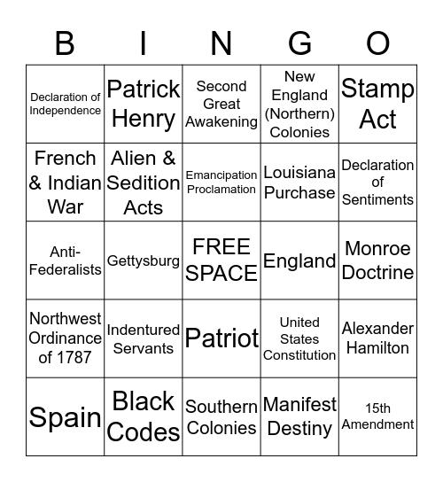 United States History Bingo Card