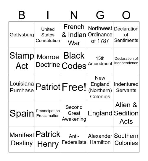 * United States History * Bingo Card