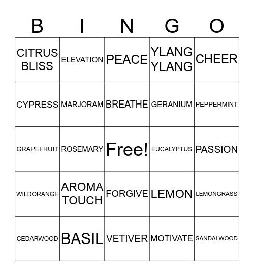 AROMA THERAPY Bingo Card