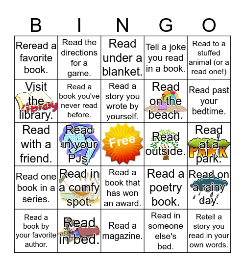 Summer Reading Bingo Card