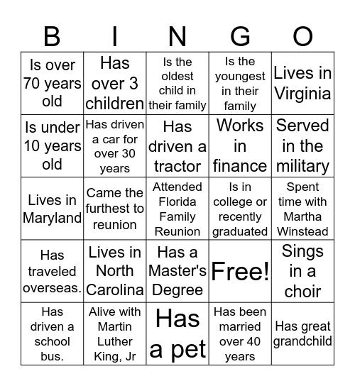 Winstead Family Bingo Card