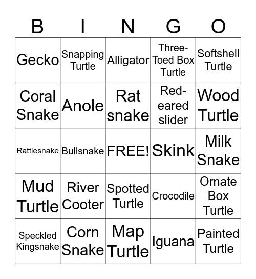 Reptile Bingo Card