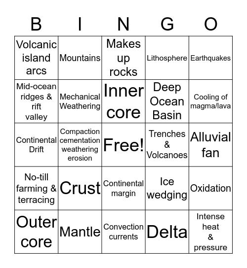 Final Exam Review Bingo Card