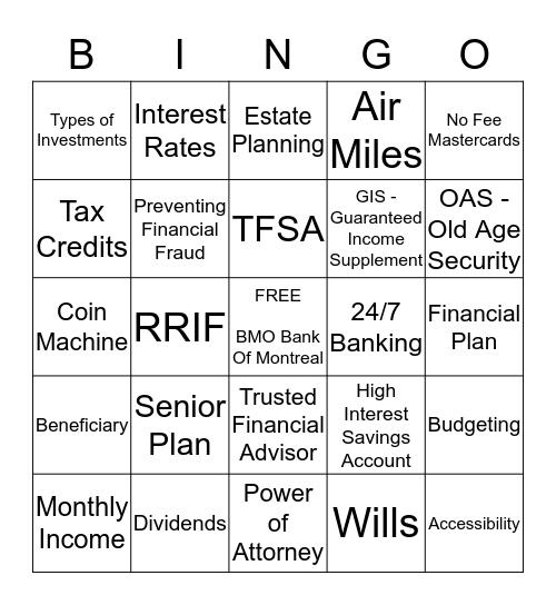 BMO Bingo Card