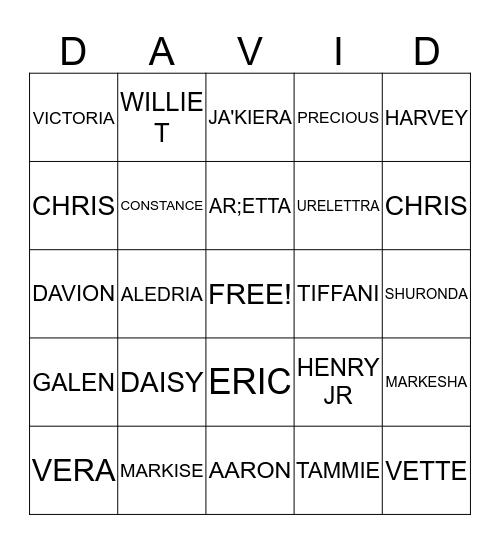 HAMPTON FAMILY Bingo Card