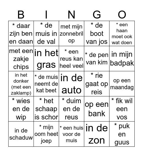 lees je mee?  Bingo Card