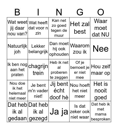 Stief Bingo Card