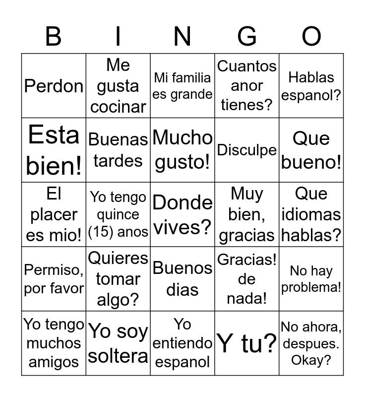 Personal Introduction Bingo Card
