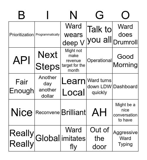 Wardingo! V63 Bingo Card