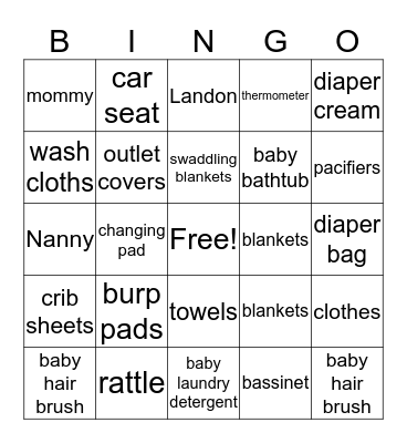 Things Hunter Needs Bingo Card