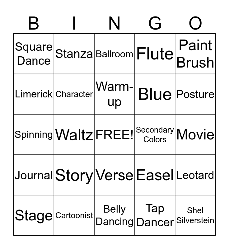 BINGO OF THE ARTS Bingo Card