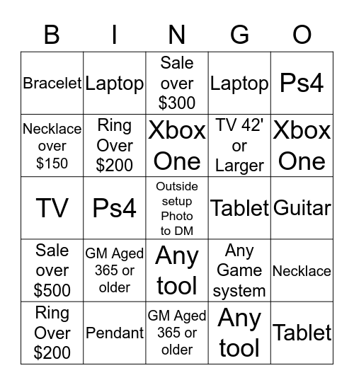 CASH AMERICA Bingo Card