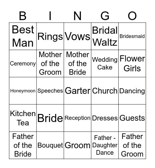 Simo's Wedding Bingo Card