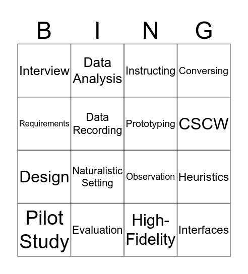 HCI Bingo Card