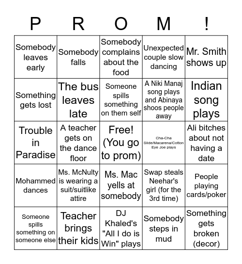 Prom Bingo Card