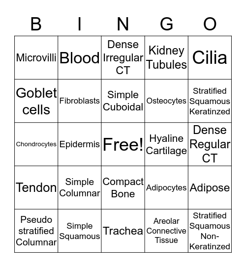 Histology Bingo Card